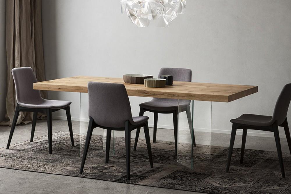 Tavolo fisso di design doge di napol con piano in legno for Arredamento tavoli