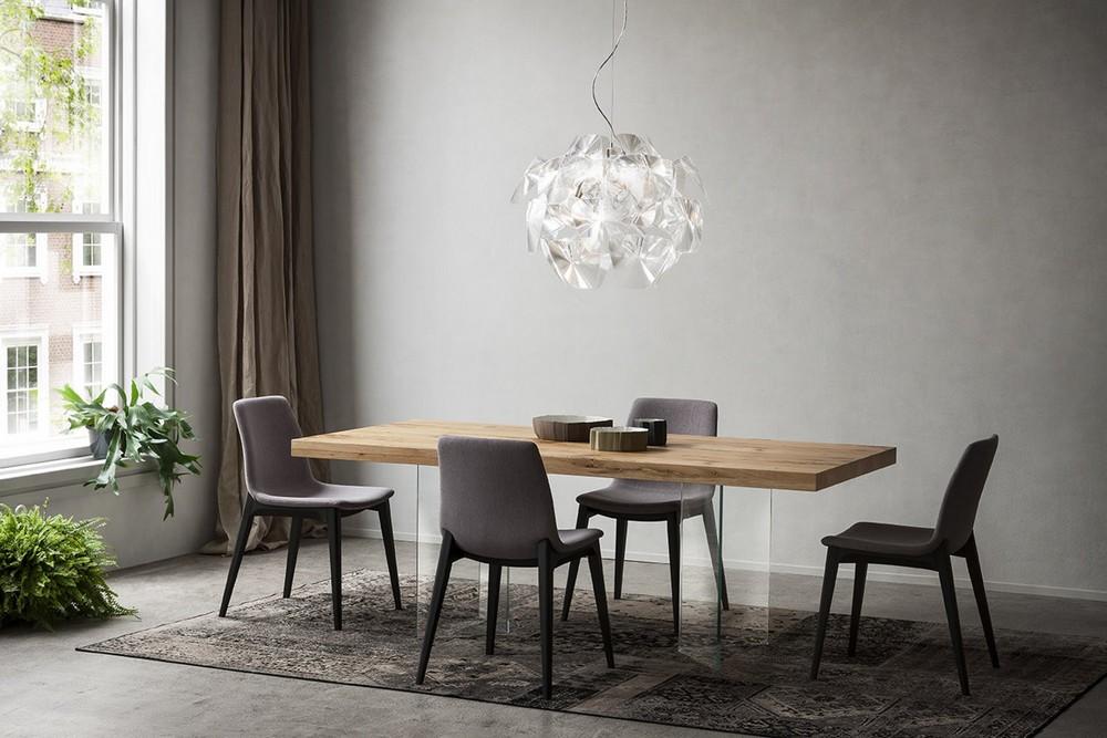 Tavolo fisso di design doge di napol con piano in legno for Tavolo cristallo e legno