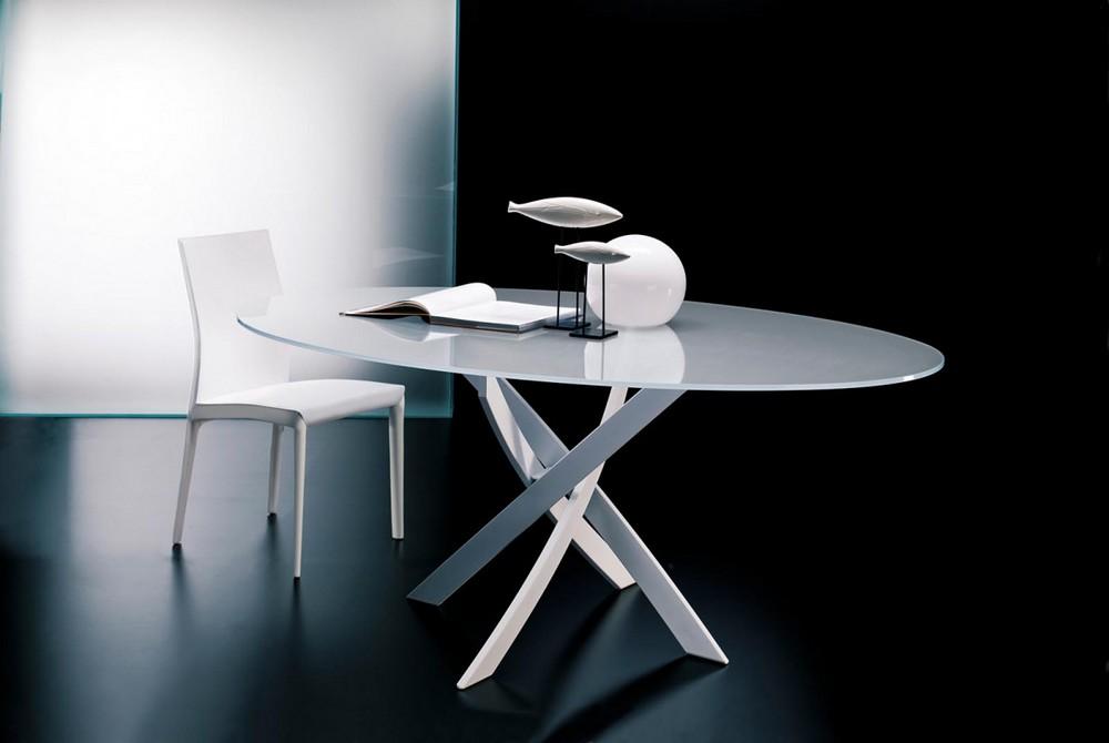 Tavolo barone di bontempi con piano in cristallo elegante for Tavolo design allungabile artistico di bontempi