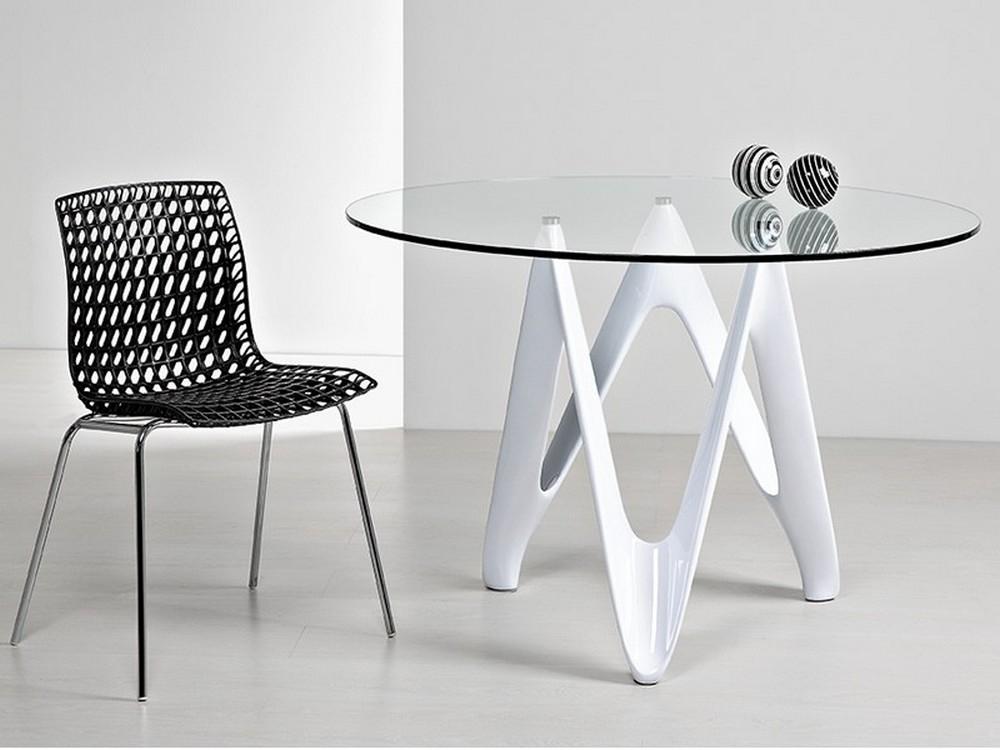 Tavolo fisso demo con piano tondo in cristallo trasparente - Tavolo di vetro ...