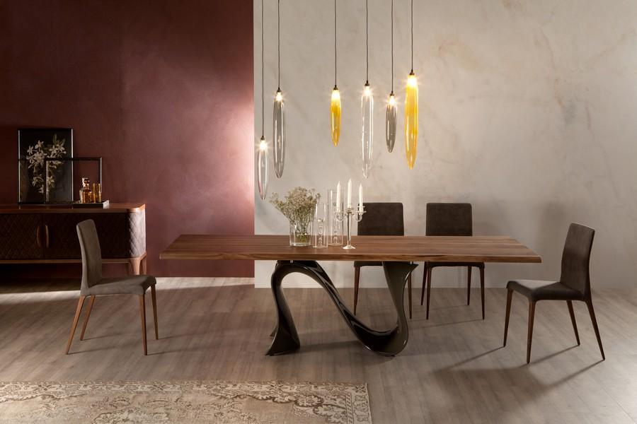 Tavolo fisso o allungabile wave di tonin casa di design for Casa di vetro contemporanea