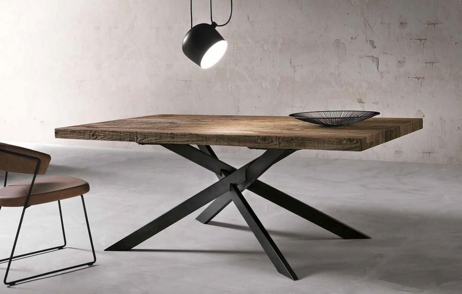 Tavolo moderno Dave in legno e struttura in metallo