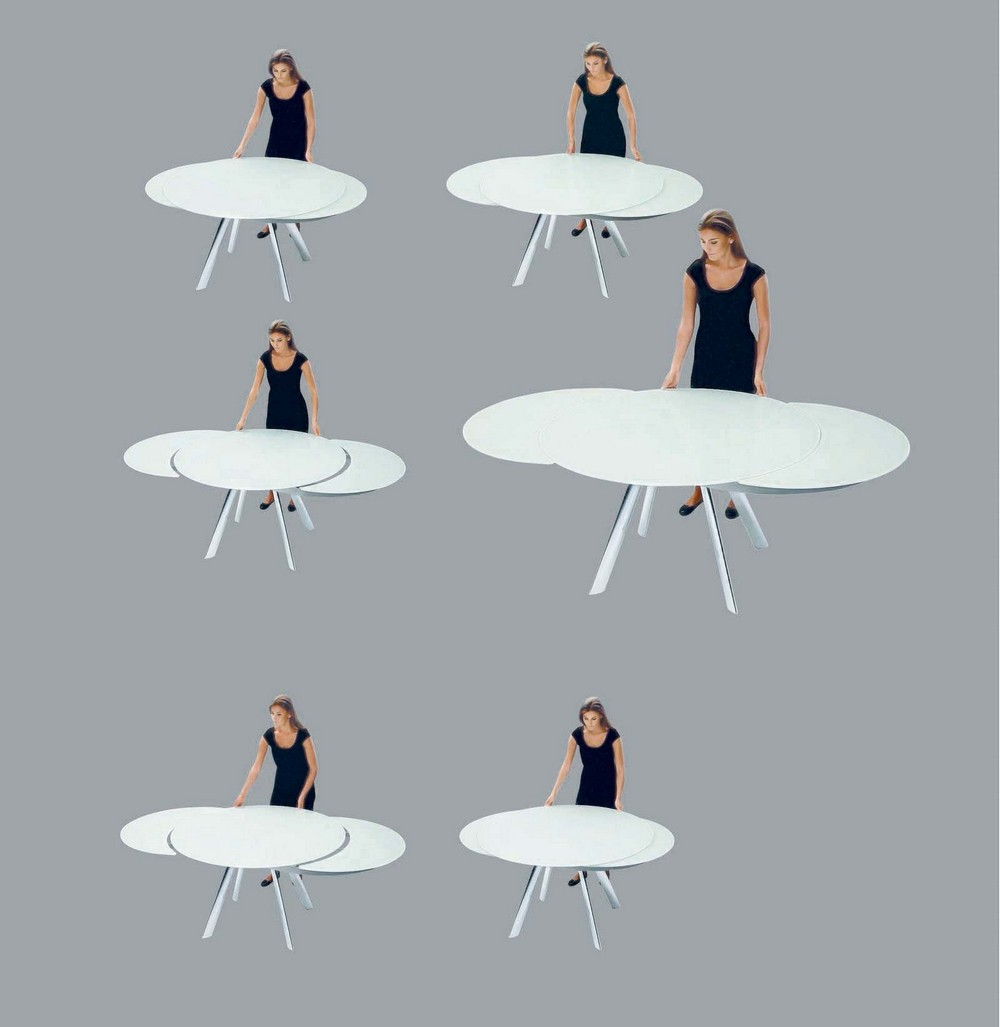 Tavolo Tondo Round Extensible Table In Wood And Metal By