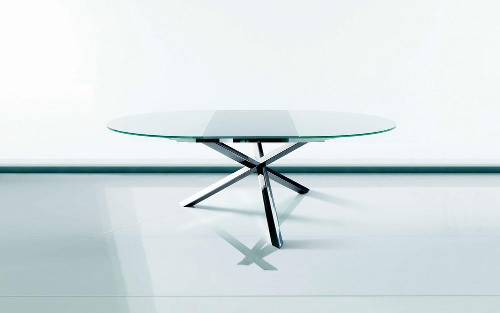 Tavolo allungabile e fisso rotondo trio di ingenia for Tavoli rotondi in vetro allungabili