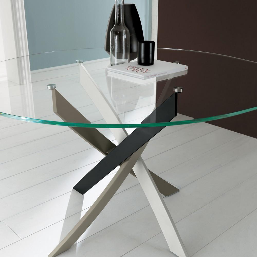Tavolo fisso Barone di Bontempi 130 rotondo con piano in legno vetro