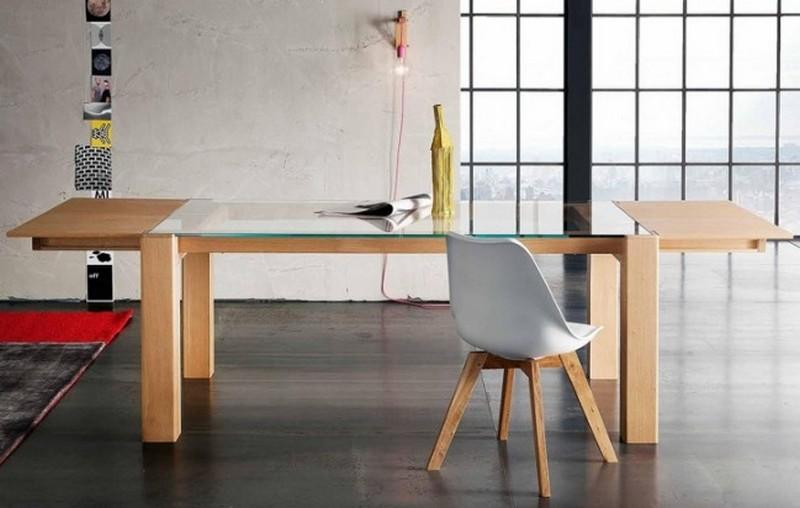 Tavolo sidney di altacorte in legno rovere moderno con for Tavolo vetro legno