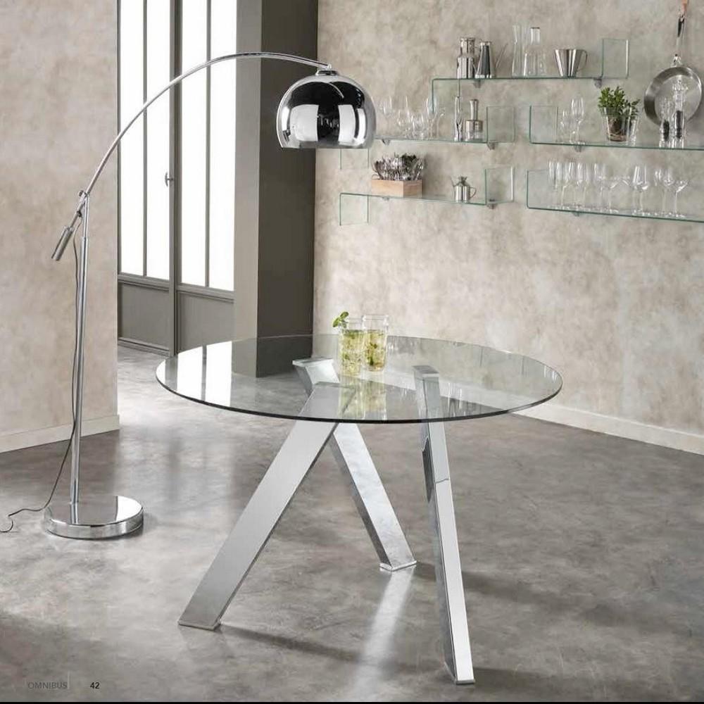 Tavolo tondo rond di stones con base in metallo e top in for Tavolo di vetro rotondo