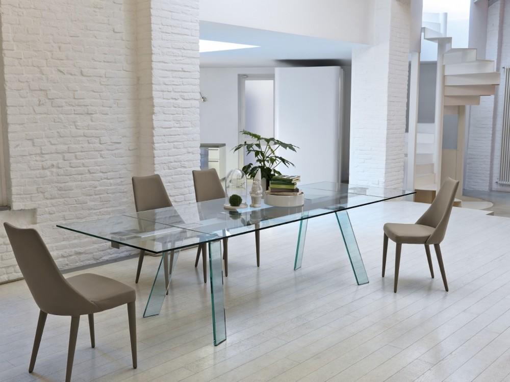 Tavolo allungabile toronto 160 cm di midj - Tavoli quadrati in cristallo ...