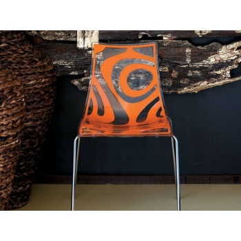 Sedia Wave a 4 gambe Trasparente e Arancio