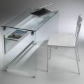Scrivania porta PC Scriba di Pezzani in vetro temperato
