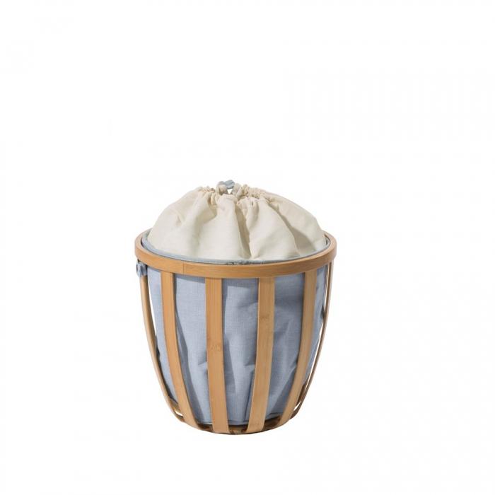 Cesta porta biancheria Apri-Chiudi Laundry Pot Family di Cipì in tessuto e bamboo listellare