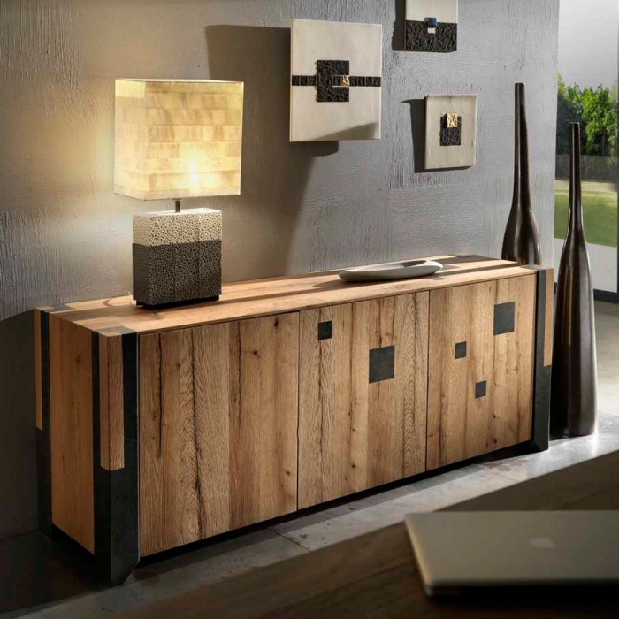 Credenza da soggiorno in legno rovere vecchio e ferro