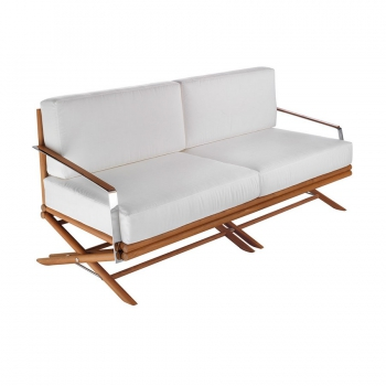Divano Maxim con struttura in legno seduta in poliestere e componenti in acciaio inox