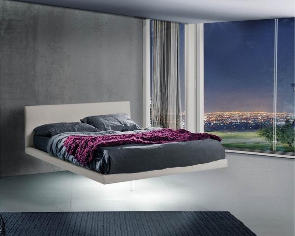Letto magia sospeso di lettissimi in tessuto o ecopelle for Letti moderni design