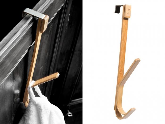 Porta accappatoio Spirella di Cipì in bamboo listellare laccato e curvato a caldo