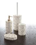 Set da bagno Nautilus di Cipì in resina bianca con decorazioni in oro