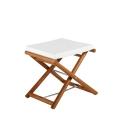Pouff Maxim con struttura in legno seduta in poliestere e componenti in acciaio inox