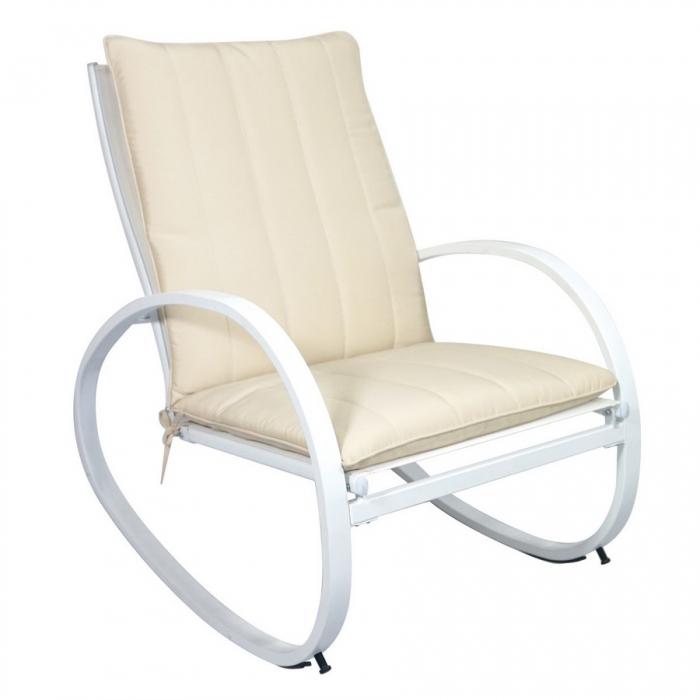 Sedia a dondolo di Greenwood in ferro bianco per esterno