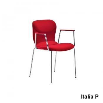 Sedia Italia P di Midj rivestita con base in acciaio