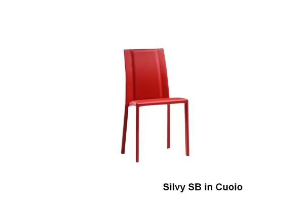 Sedia Cuoio Braccioli Metallo Silvy Midj : Sedia silvy di midj in ecopelle pelle o tessuto