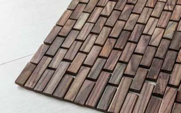 Tappeto Wood Rosewood di Cipì in listelli di Teak