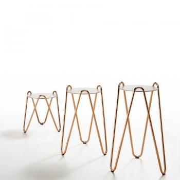 Tavolino Apelle Chic di Midj con piano in ceramica o in cuoio