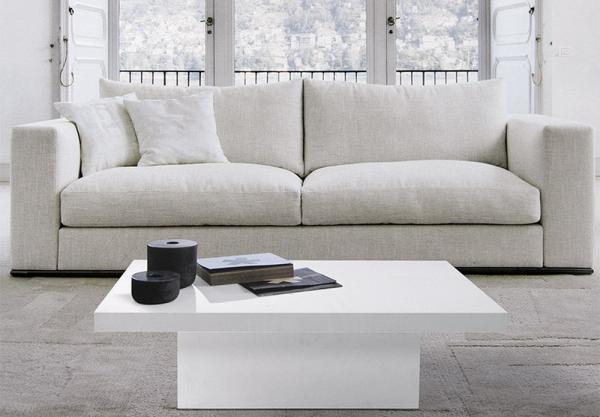 Tavolino da salotto con piano e struttura in laminato bianco o grigio