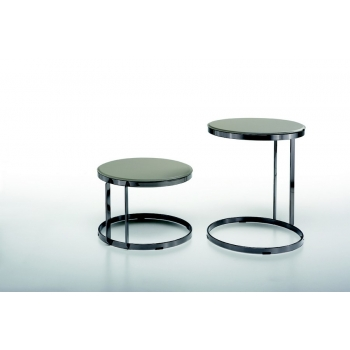 Tavolino Joint di Midj con base tonda e piano in cuoio o ceramica