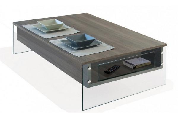 Tavolino London di Pezzani con ripiani in laminato e fianchi vetro