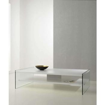 Tavolino Maxim di Pezzani con ripiani in laminato fianchi in vetro trasparente temperato