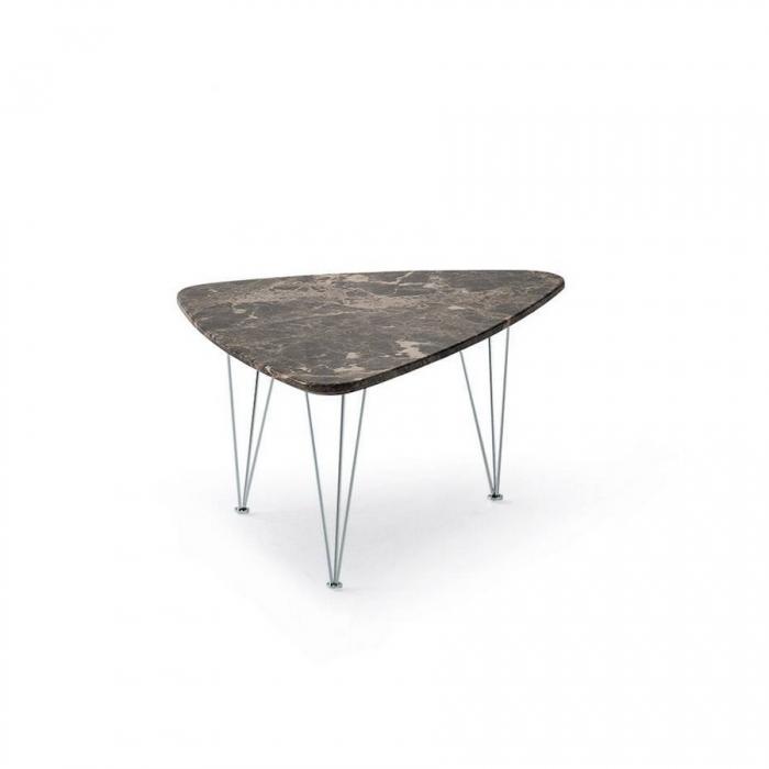 Tavolino Pelican con elegante piano triangolare in marmo