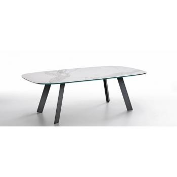 Tavolo Alexander di Midj con struttura in acciaio e piano in cristalceramica o legno massello