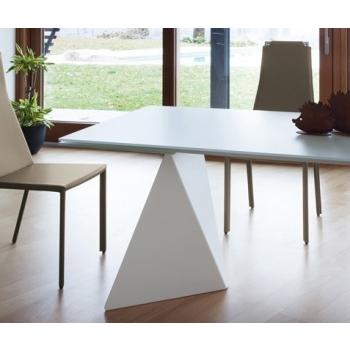 Tavolo allungabile Euclide-A di Domitalia con piano vetro o marmo