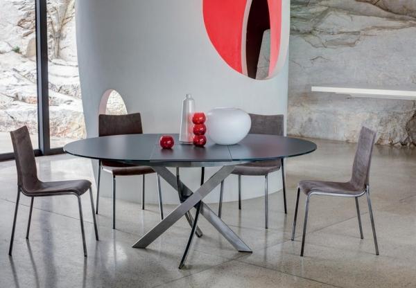 Tavolo Bontempi Cristallo Allungabile.Tavolo Barone Di Bontempi Con Piano In Cristallo Elegante Moderno