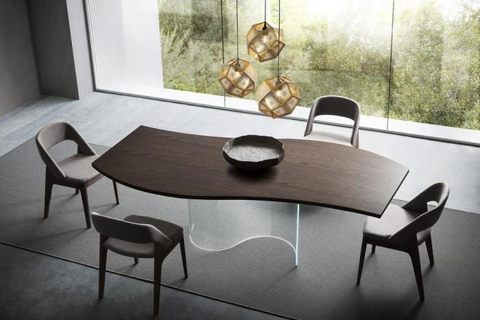 Tavolo fisso Onda di Napol in legno e vetro