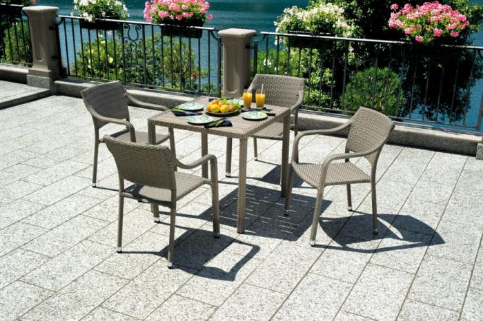 tavolo Orleans di Greenwood intrecciata in wicker  per esterno