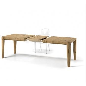 Tavolo Tav3 in legno con gambe coniche a filo piano