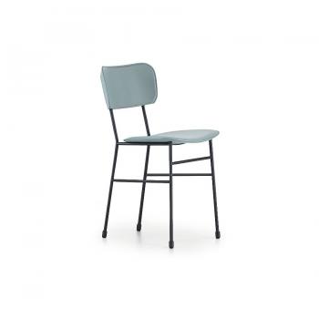 Midj Stuhl mit vier Beinen aus Stahl mit Sitz und Rücken gepolstert