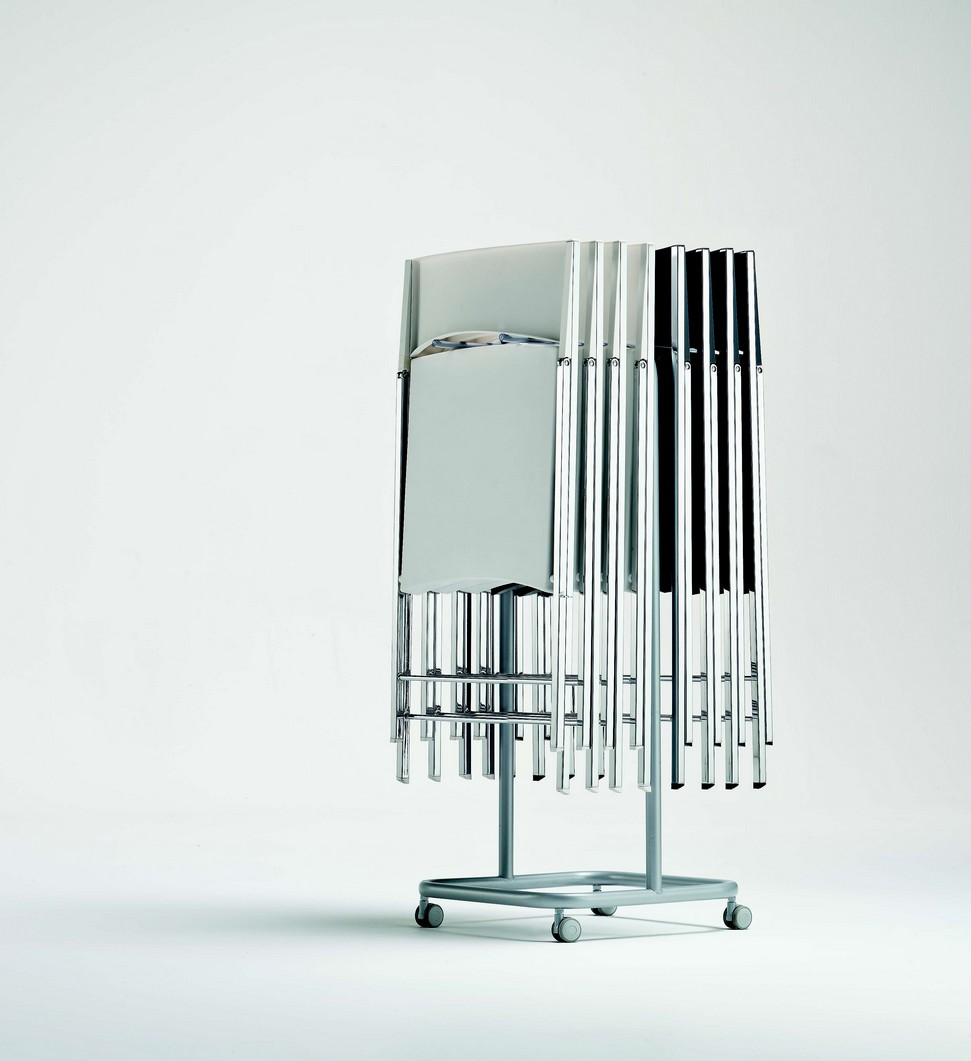 Sedie Pieghevoli Calligaris Design.Cart For Chairs Folding In Ingenia Bontempi Lacquered Steel