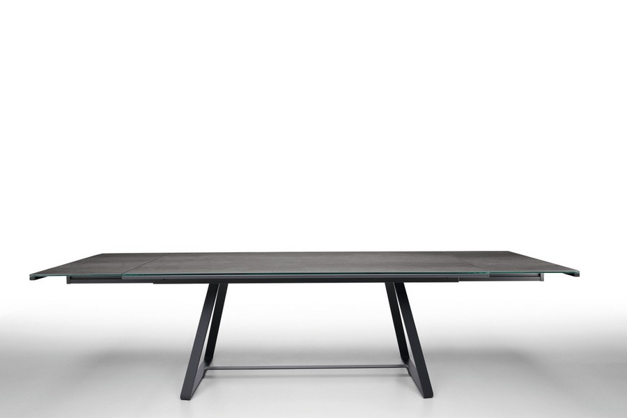 Midj Alfred table with steel structure and top in cristalceramica or solid  wood