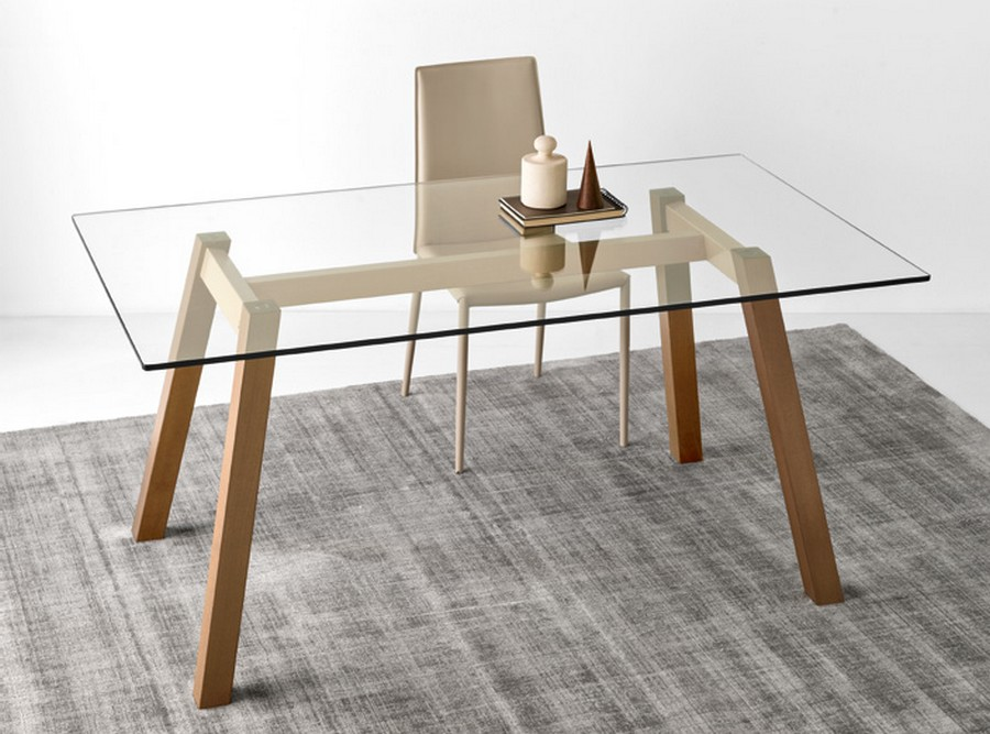 Tavolo Calligaris Vetro Trasparente.T Table Fixed Table By Connubia By Calligaris With Tempered Glass Top