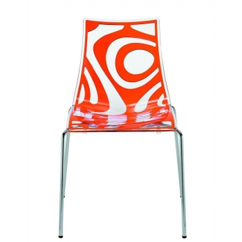 Wave chair with 4 legs and Transparent Orange