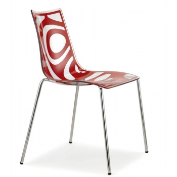 Wave chair with 4 legs and Transparent Red