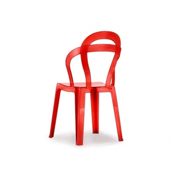 Chair Titì red transparent polycarbonate Scab Design Stackable