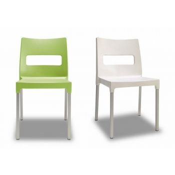 Maxi Diva stackable chair by Scab Design polymer and green linen