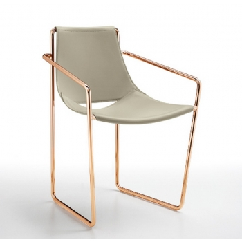 Armchair Apelle P Midj with elegant leather seat and steel ...