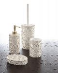 Cipì Nautilus bathroom set in white resin with gold decorations