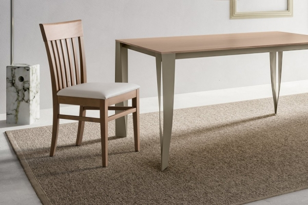 Napolean Andean chair with padded and covered beech wood legs