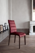 Chair with wooden frame covered with leather or eco-leather Portofino by Tonin Casa