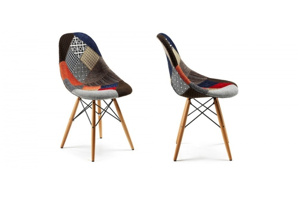 Colored upholstered Patchwork Chair with Clessidra beech legs